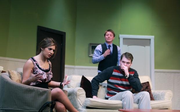 "Sara Chiodo, Matthew Hunt, & Brent Clifford Gorrie in ""Don't Dress For Dinner"""